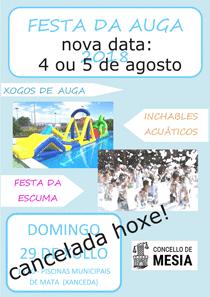 CANCELADA FESTA AUGA HOXE